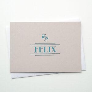 Letterpress Geboortekaartje Art Deco Grijs