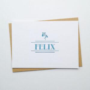 Letterpress Geboortekaartje Art Deco Wit
