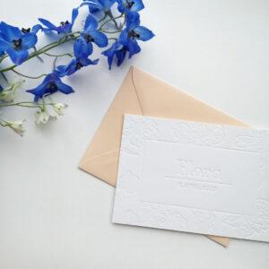 Letterpress Geboortekaartje Bloemenprint Blinddruk