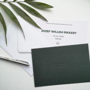 Geboortekaartje Jozef Donkergroen