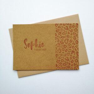 Letterpress Geboortekaartje Tijgerprint Camel