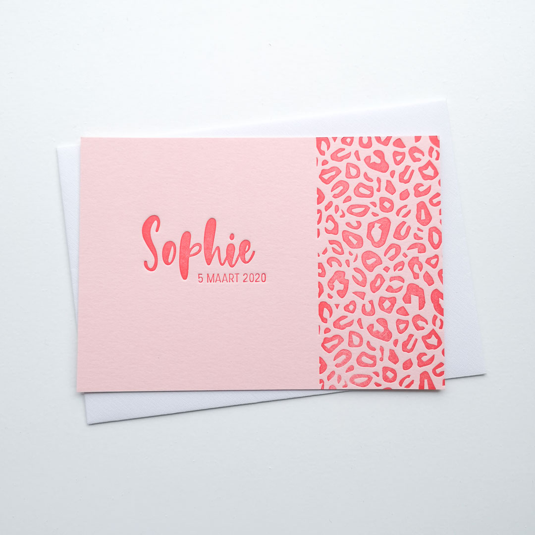 Letterpress Geboortekaartje Tijgerprint Roze