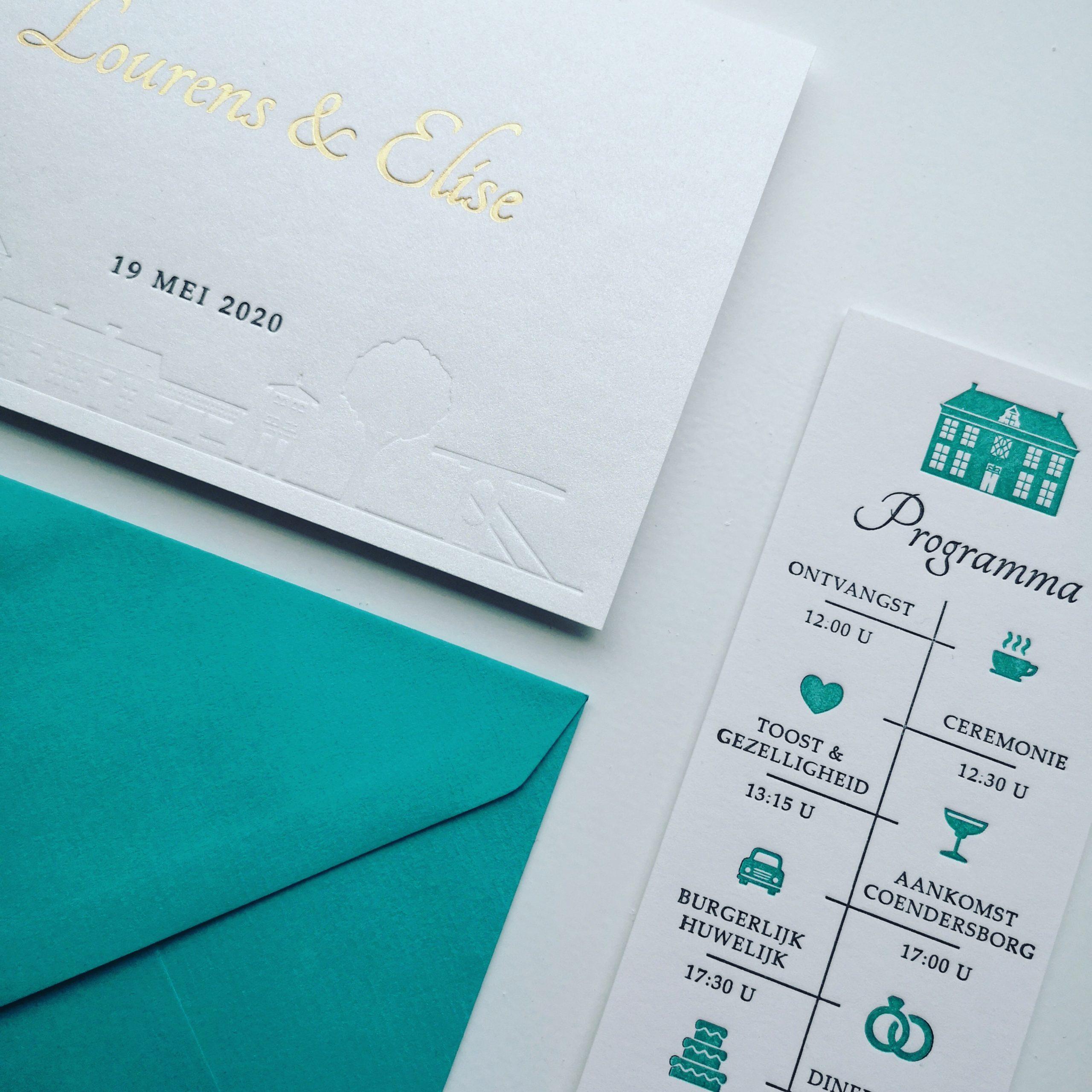 Letterpress Trouwkaart Lourens en Elise