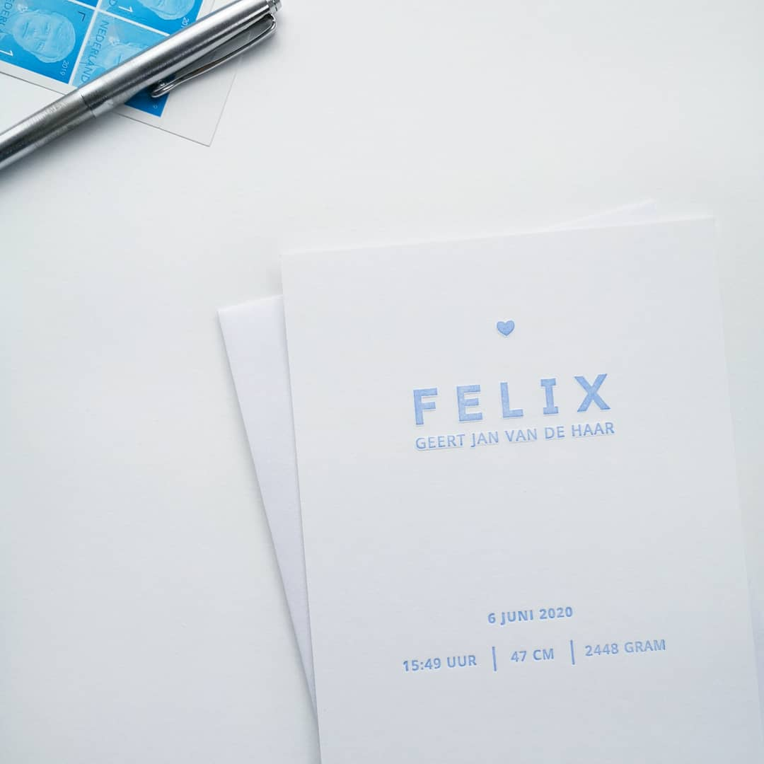 Letterpress Geboortekaartje Felix