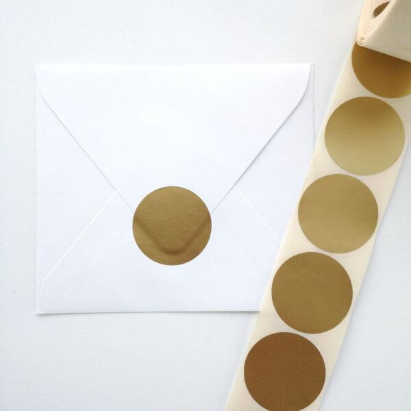 Rond sluitsticker mat goud 40mm