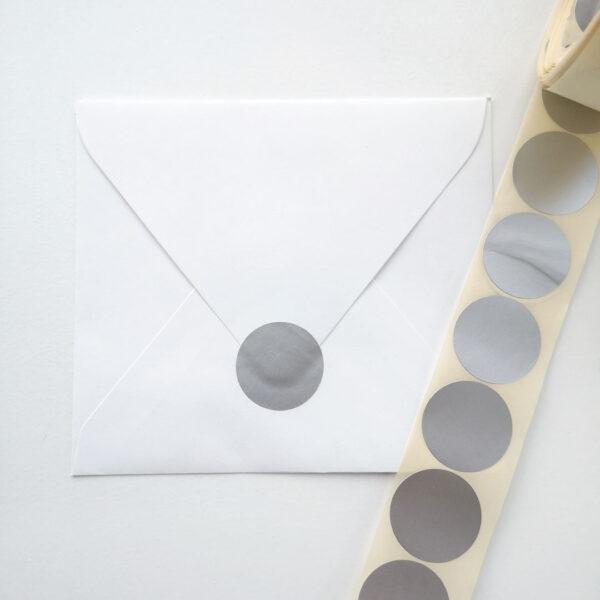 Rond sluitsticker mat zilver 29 mm