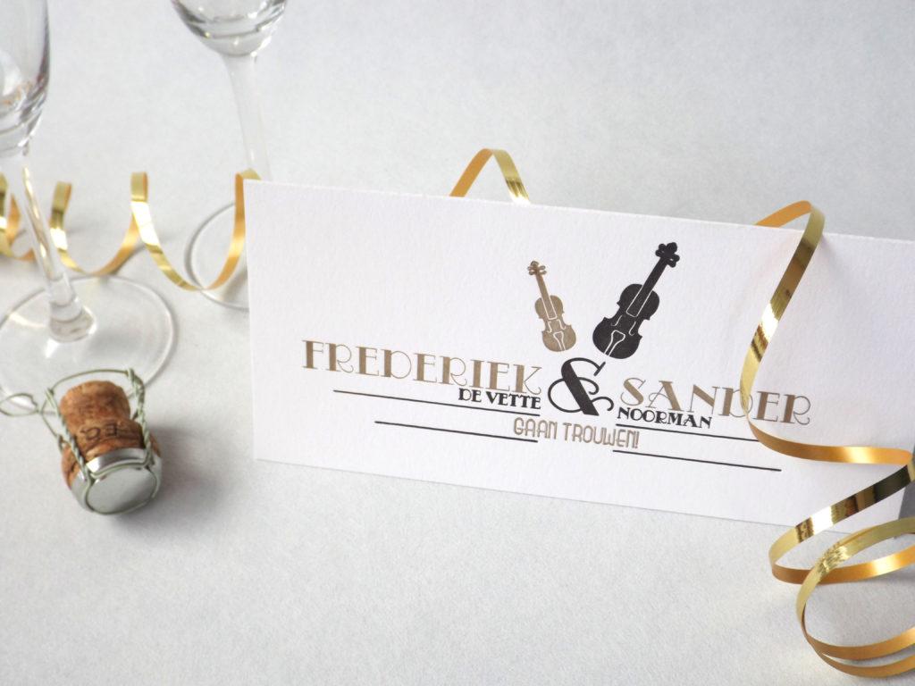 Letterpress Trouwkaart Frederiek en Sander