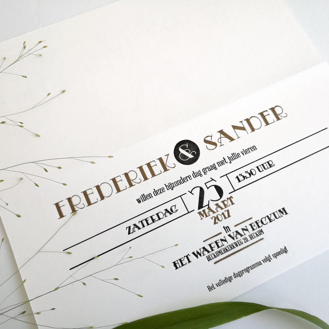 Binnenkant van de trouwkaart van Frederiek & Sander.