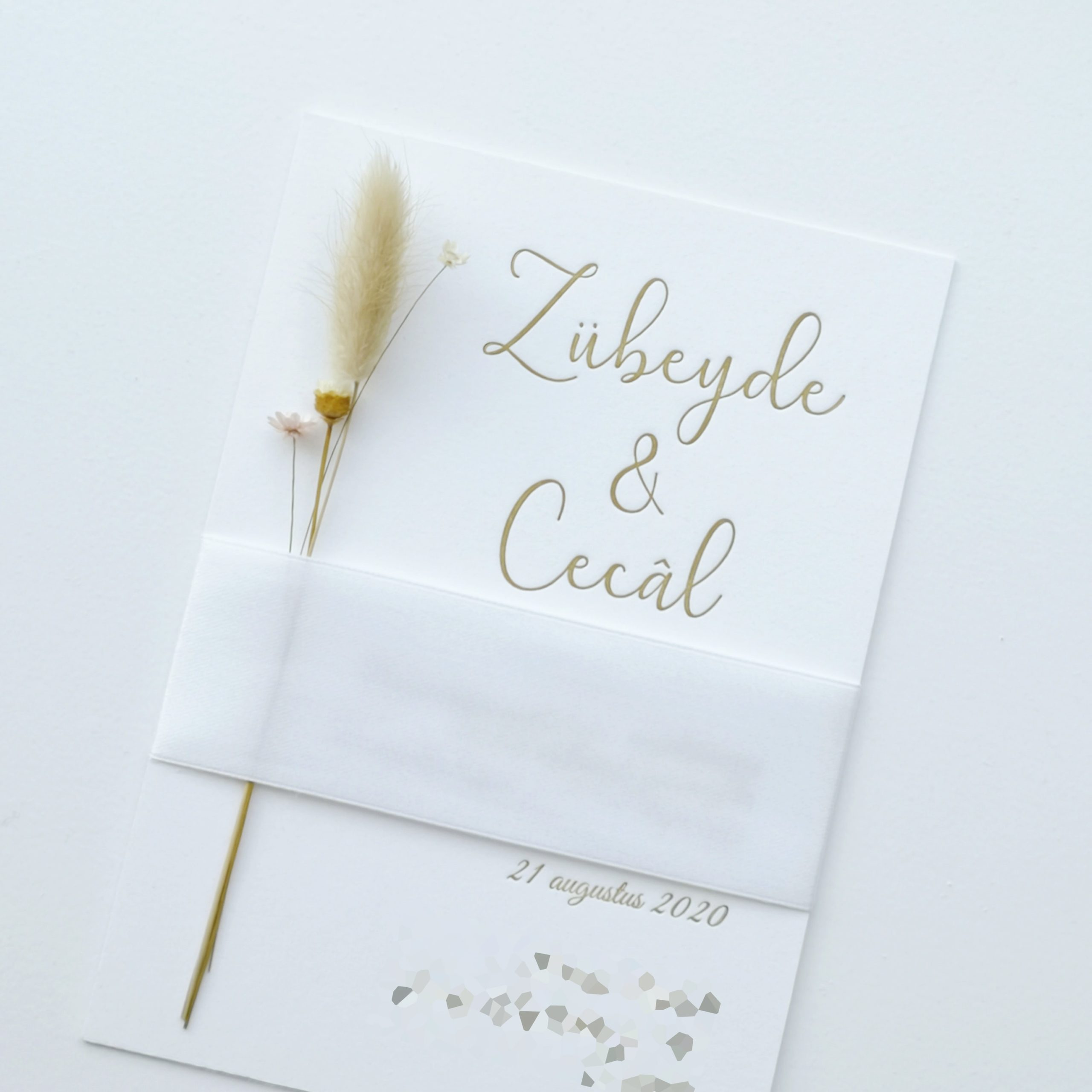 Letterpress Trouwkaart met Lint en Droogbloemen