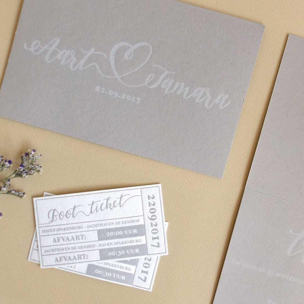 Letterpress Trouwkaart Aart & Tamara